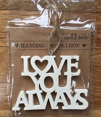 Sass & Belle Cream Hanging Decoration Shabby Chic Love You Always Christmas Tag