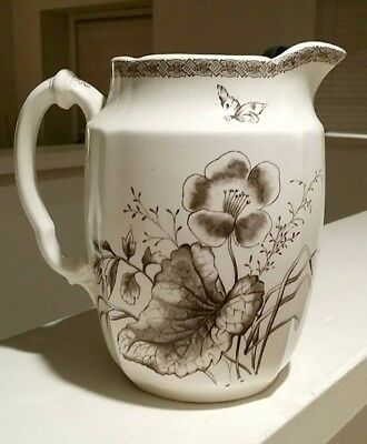 Antique BEGONIA T & R BOOTE VASE PITCHER Ivory Brown Transferware England EXC