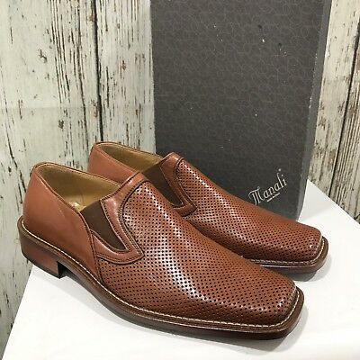 NEW MANALI Brown Leather Shoes Formal Work Occasional Spotted UK Size 42 30219