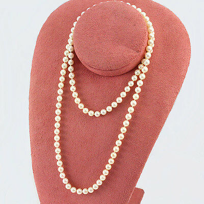 """32"""" Strand Of Cultured Pearls 6Mm To 6.5Mm 14K White Gold Clasp Rose' Luster"""