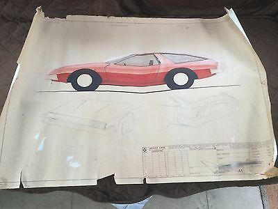 JAGUAR CARS DESIGN ORIGINAL STYLING/CONCEPT DRAWINGS FROM 1970s