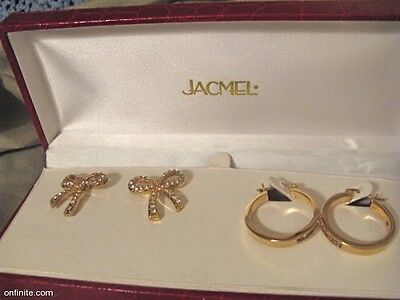 2 Estate 70s90s Vermeil? GOLD Plt-Fill-tone? Crystal pierce FANCY EARRINGS boxed