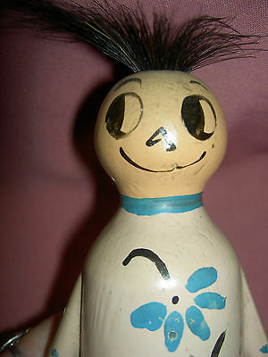 "Vintage antique, SCAREY ANN large wood ""hair raising"" doll toy c1920s Poppy Doll"