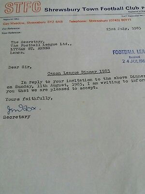Football Letter Shrewsbury Town Accepting Invitation 1985