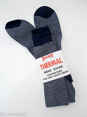 Vintage Mens Thermal Socks 1970s era Patterned Socks Navy Unusued New in Packet