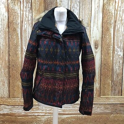 ROXY Multi Ski Jacket Faux Fur Pattern Print Winter Autumn Short UK Size S 30204