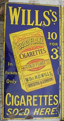 Classic Wills Gold Flake, 10 for 3d,   old vintage advertising  enamel sign