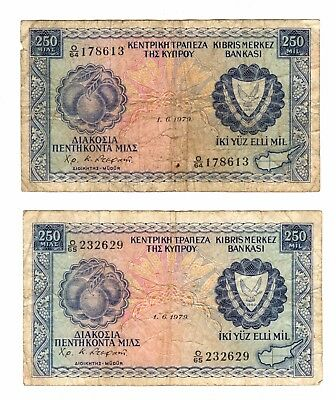 1979 Cyprus 250 Mil Bank Notes***Collectors***