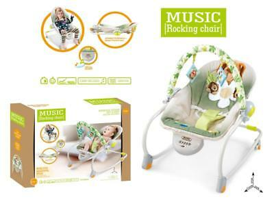 Baby Rocker Bouncer Reclining Chair Soothing Music Viberation with Toys 0MONTHS+