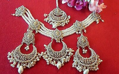 Choker Pakistani Bollywood Rani Haar Bridal Jewellery necklace Earrings set UK