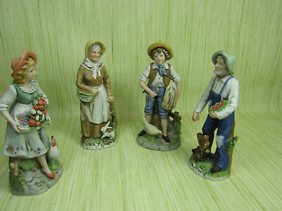 Lot of 4 Homco Porcelain Statuettes Farming Family
