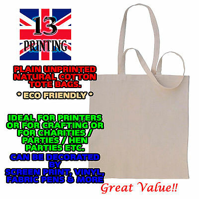 Cotton Tote shopping Bags Plain Eco Friendly 38x42cm craft print single uk cream