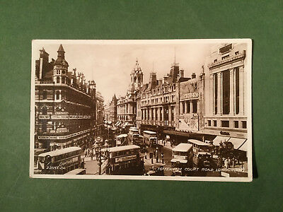 London Tottenham Court Road posted1936 buses busy vintage RP postcard
