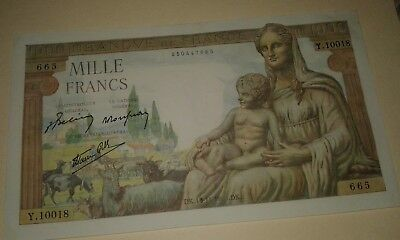 France Mille Francs 1000, 1943 in Excellent Condition!