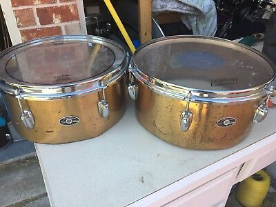 """1970's Slingerland Brass Timbales- 13"""" and 14"""" pair"""