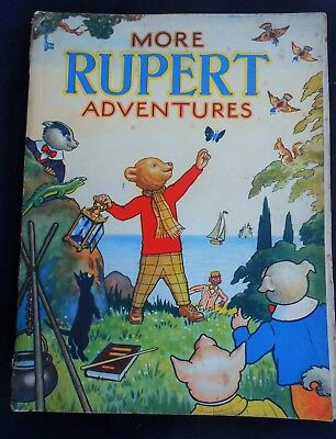 VINTAGE ORIGINAL 1943 RUPERT BEAR ANNUAL, PRICE UNCLIPPED at 3/6