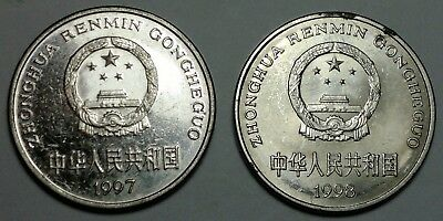 1997,1998 China $1 dollar coins,  Chinese coin