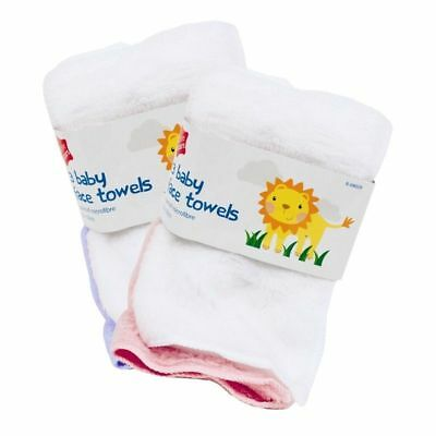 3 Pcs Pack White Pink Baby Face Towels Bath Flannel Wash Cloth Wipe Microfiber