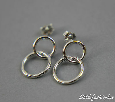 925 Sterling Silver Linked Rings Interlocking Circles Small Earring UK New 1.40g