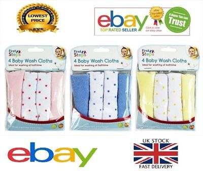 Pack of 8 Baby Soft Wash Cloths Bath Feeding Shower Towel Flannel Wipe Yellow