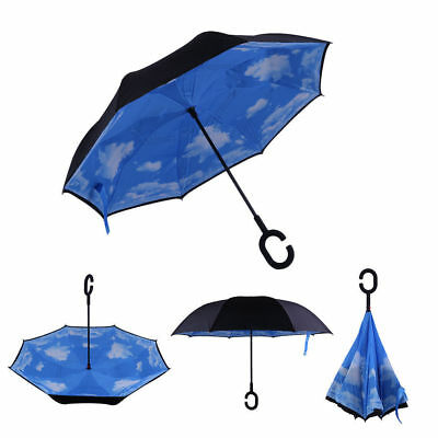 Inverted Umbrella w/ C-Handle - Sky Blue - New Reverse Folding Umbrella