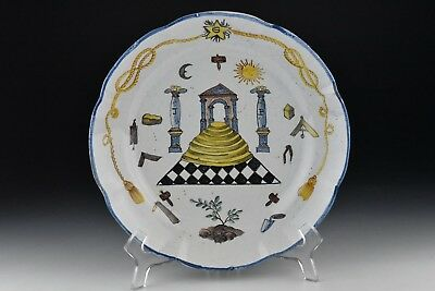 Antique Delft Pottery Plate w/  Farmers Arms