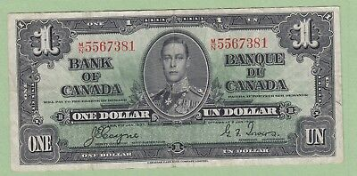 1937 Bank of Canada 1 Dollar Note - Coyne/Towers - M/N5567381 - VF