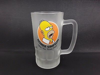 The Simpsons Homer Frosted Beer Glass Pint Tankard One, Two, Three....floor