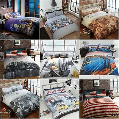 3Pcs Duvet Set Duvet Cover Bedding set New York City Skyline American Flag Theme