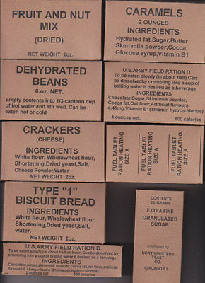 Set Of Nine  Ww2 Us K Ration 5 In 1 Component Boxes (Repro)