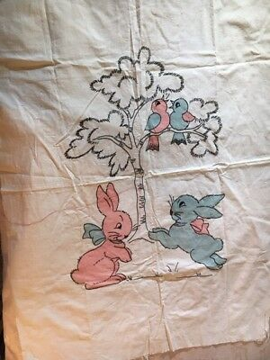 Vintage Hand Embroidered Bunnies and Birds Baby Crib Cover - not finished