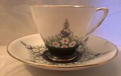 Hand Painted Royal Stafford Flowers White Matte Black Fine Tea Cup & Saucer