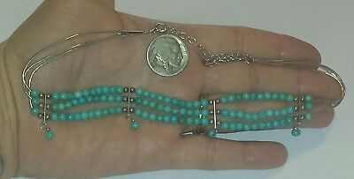 Vintage 3 Strand Liquid Sterling Silver & Turquoise Necklace ~ Carolyn Pollack ~