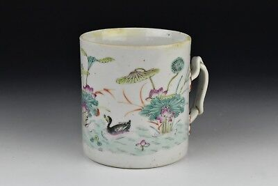 18th Century Chinese Export Porcelain Mug w/ Enamel Ducks