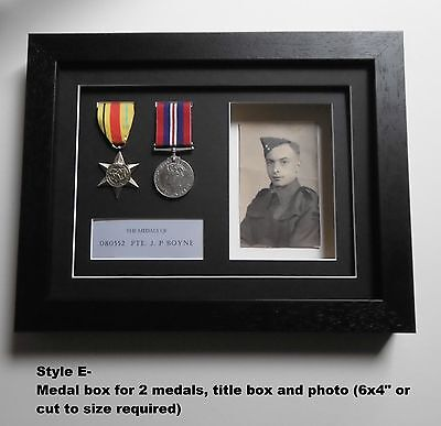 Medal Frame - REAL WOOD- Displays 2 medals/photo aperture/title box