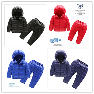 Kids Baby Toddler Girls Boys Down Jacket Coat+Down Trousers Thicken Outdoor Set