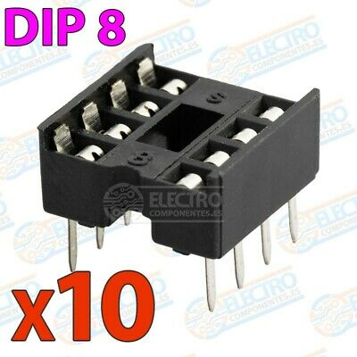 Zocalo integrado DIP 8 doble contacto 8 pines Socket IC DIP8 - Lote 10 unidades