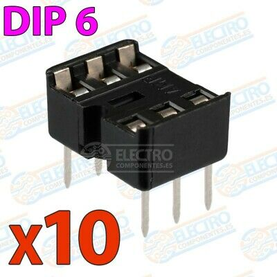 Zocalo integrado DIP 6 doble contacto 6 pines Socket IC DIP6 - Lote 10 unidades