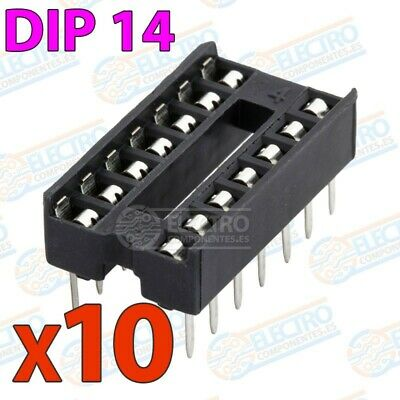 Zocalo integrado DIP 14 doble contacto 14 pines Socket IC DIP14 - Lote 10 unidad