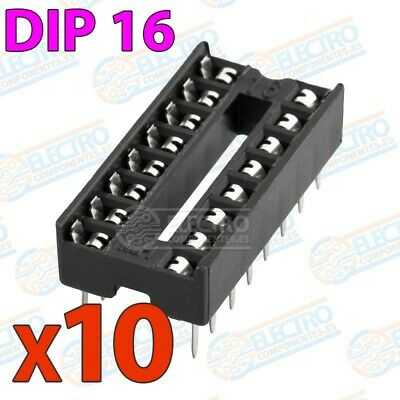 Zocalo integrado DIP 16 doble contacto 16 pines Socket IC DIP16 - Lote 10 unidad