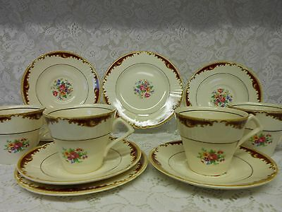 Vintage Myott Staffordshire England 4 Trios Pink Floral Bouquets
