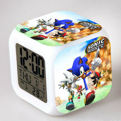 Sonic the Hedgehog Game Color Changing Night Light Alarm Clock Kids Toy Gift #UK