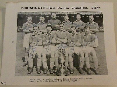 Portsmouth FC Very Rare Team Photo all 11 players autographs Champions 1948/49