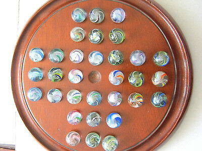 Solitaire Marble Set Antique Marbles German 32 Marbles & Board German 1850 1870