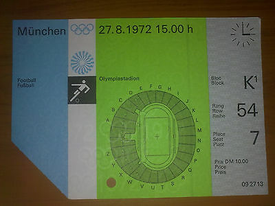 Ticket Olympic Games MÜNCHEN 1972 - FOOTBALL 27.08.1972 GERMANY - MALAYSIA