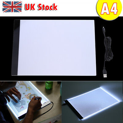 A4 LED Artist Thin Type Stencil Drawing Board Light box Tracing Table Pad UK