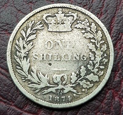 (S5) Uk British 1874 Cross (Die 15) Silver One Shilling Coin