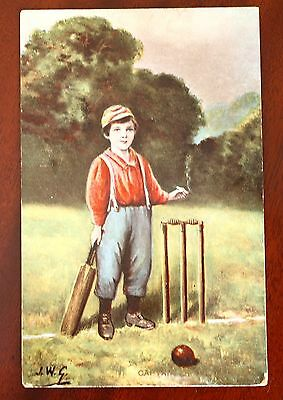 J W G Cricket Postcard Artist Signed 1913 Philco Pub Series 2213 F