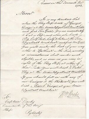 1792 Admiral Drake Signed Naval Orders To Hms Pylades