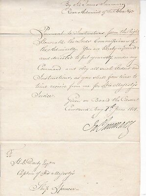 1801 Admiral Saumerez Signed Naval Orders To Hms Spencer